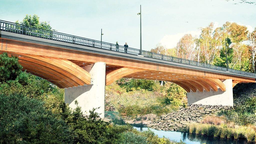 Profile render of the Duchesnay creek river bridge.