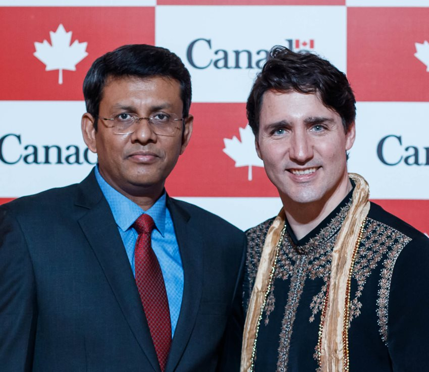 LEA Group CEO Pinaki Roychowdhury meeting with Canadian Prime Minister Justin Trudeau.