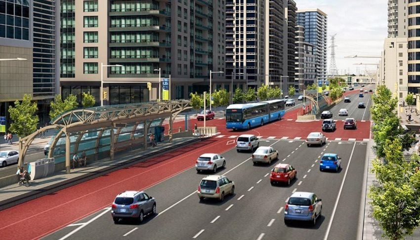 A rendering of a typical populated intersection of the York Region Viva bus rapid transit project.