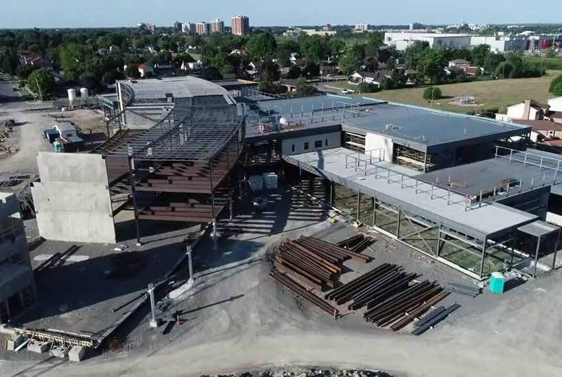Aerial view of construction at Kingston Secondary School.